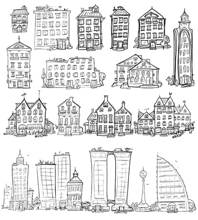 suburb: Set of hand drawn houses Illustration