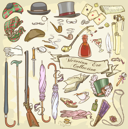 walking stick: Victorian Era Collection Illustration
