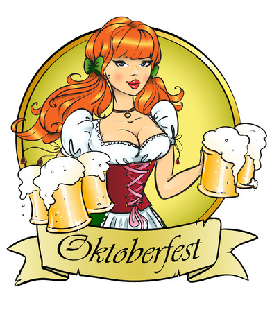 Pretty Pin Up Girl with beer mugs