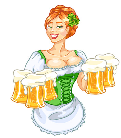 clover face: Beautiful Irish girl with beer Illustration