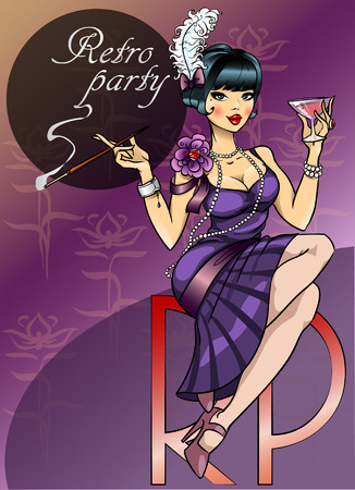 classic woman: Retro Party Poster design