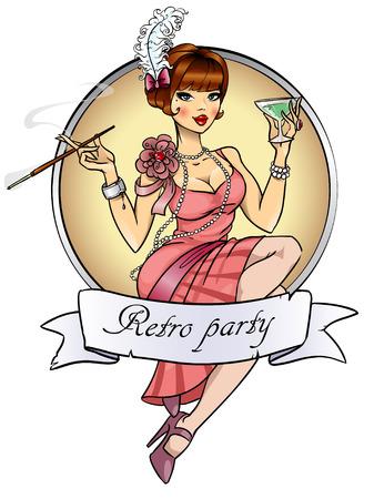 pin up vintage: Etichetta Retro Party isolato su bianco Vettoriali