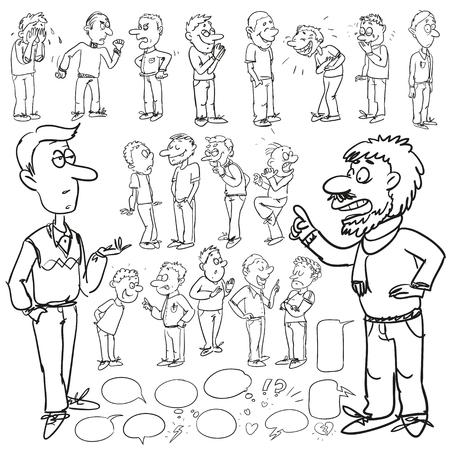 caricaturas de personas: Dibujado a mano colección cómica de los hombres Vectores