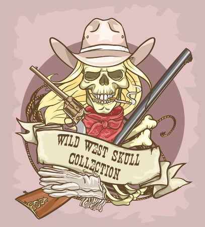 cowgirl and cowboy: Wild West skull label Illustration