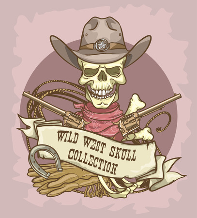 t bar: Wild West label Illustration
