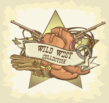 western usa: Wild West label Illustration