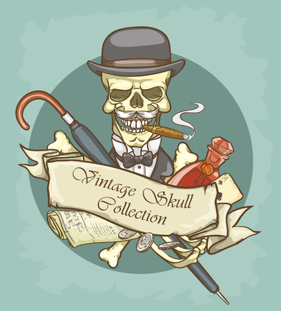top gun: Victorian Era Skull Label Illustration