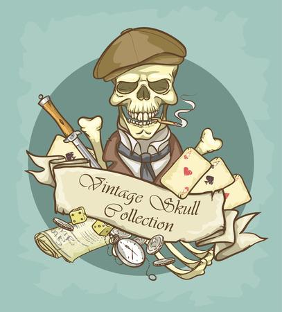 Victorian Era Skull Label