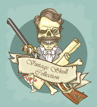 an era: Victorian Era Skull Label Illustration