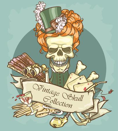 era: Victorian Era Skull Label Illustration