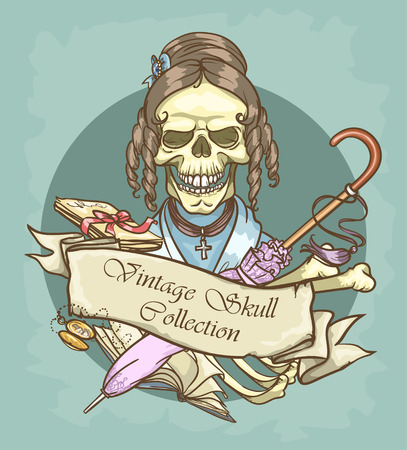 clan: Victorian Era Skull Label Illustration