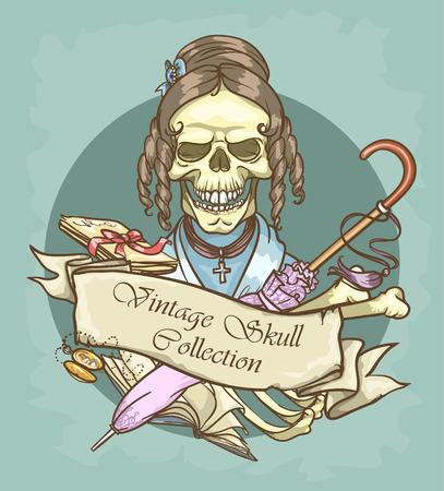nostalgy: Victorian Era Skull Label Illustration