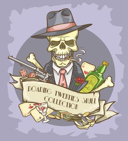 Roaring Twenties Skull label Vector