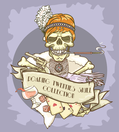 women with guns: Roaring Twenties Skull label