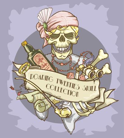 roaring: Roaring Twenties Skull label