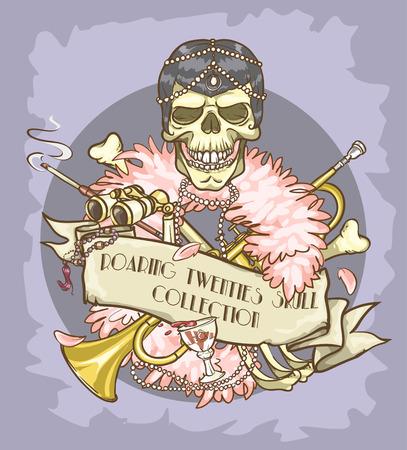 Roaring Twenties Skull label