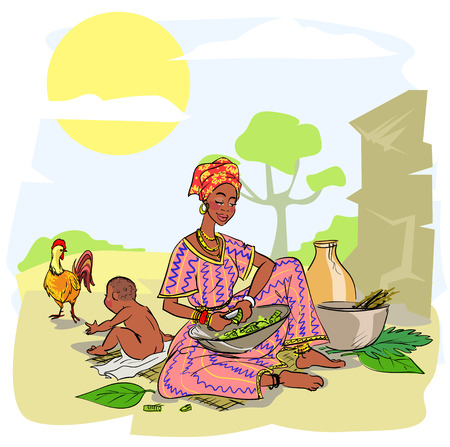 African woman with baby