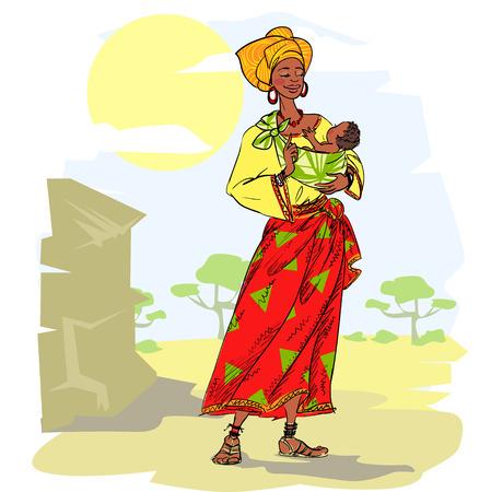 아기와 함께 아프리카 여자 일러스트