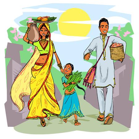 인도의 가족 일러스트