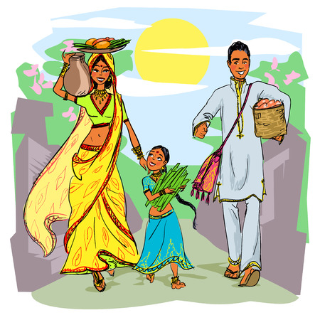 work home: Indian family Illustration