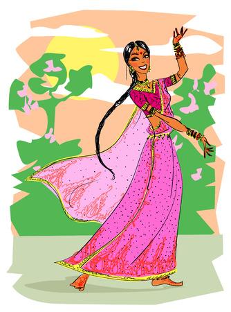 伝統: インドの女性の踊り  イラスト・ベクター素材