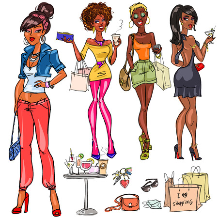 trendy girl: Pretty fashionable women Illustration
