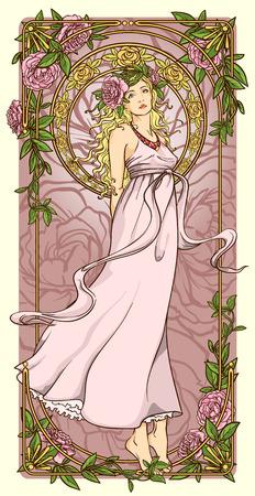 mujer con rosas: Fondo del arte Nouveau Vectores
