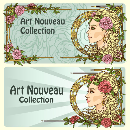 hair beauty: Art Nouveau background