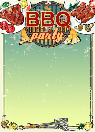 Barbecue background with space for text Ilustracja
