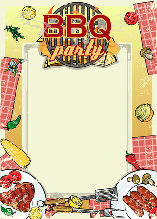 bbq ribs: Barbecue background with space for text Illustration