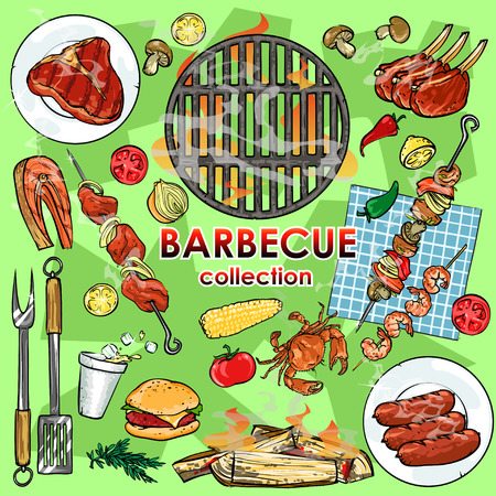beach party: Barbecue collection Illustration