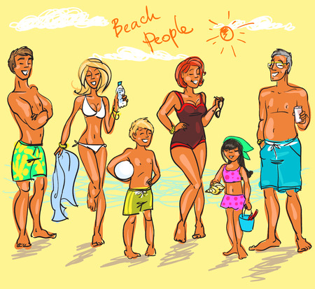young people party: Beach People Illustration