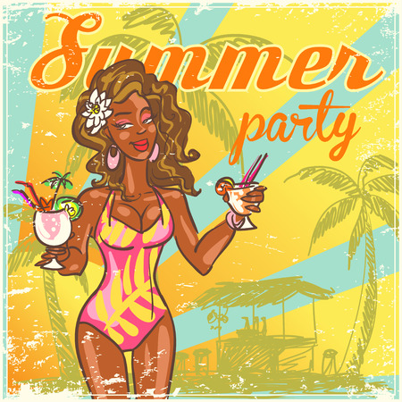 tiki party: Beach beckground with sample text and pretty woman Illustration
