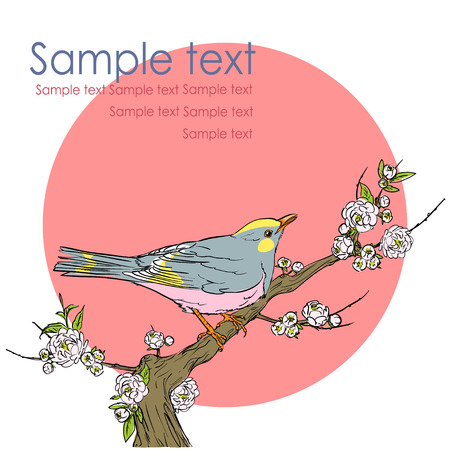 japanese garden: Bird sitting on a branch, hand drawn vector illustration with space for text