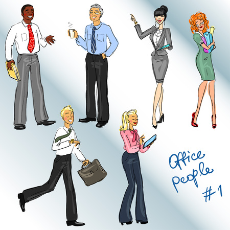 office people: Office people. Hand drawn clip art, co;;ection of business people.