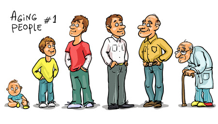 humour: Aging people - set 1, Men at different age. Hand drawn cartoon men, family members isolated, sketch