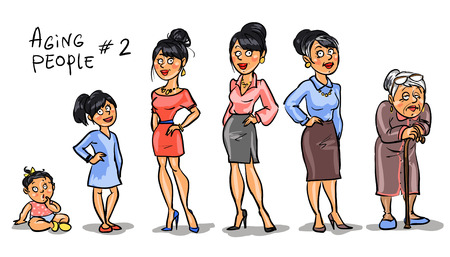 school aged: Aging people - set 2, Women at different age. Hand drawn cartoon women, family members isolated, sketch
