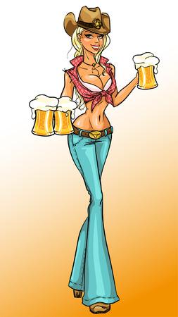 ビール、ピンまでの女の子を保持しているカウガールのベクトル イラスト  イラスト・ベクター素材