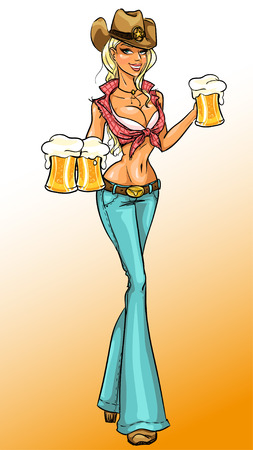 Vector illustration of Cowgirl holding beer, Pin Up girl Vectores