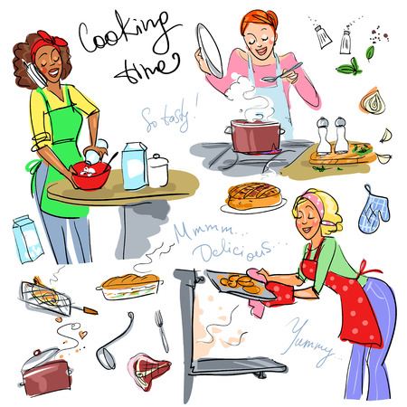 cartoon teenager: Housewifes cooking meal, hand drawn vector clip art Illustration