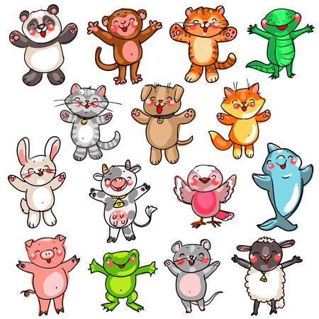 Collection of Cute baby animals, cartoon drawing