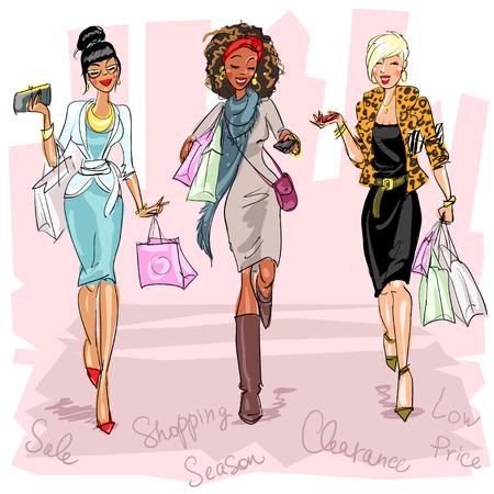 chicas de compras: Mujeres bastante de moda Vectores