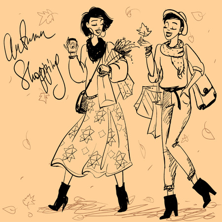 girls night out: Pretty fashionable women Illustration
