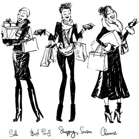 Pretty fashionable women  イラスト・ベクター素材