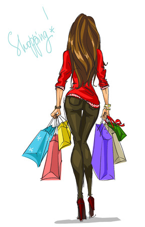 Pretty fashionable woman with shopping bags 矢量图像