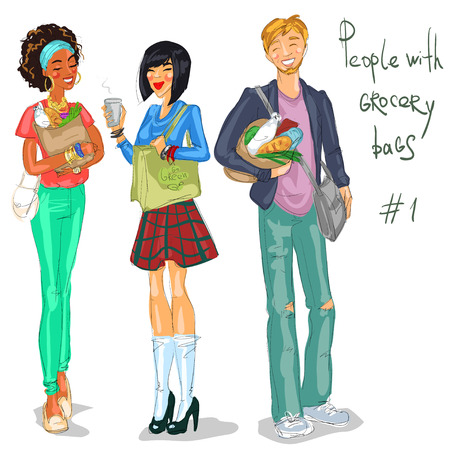 girls night out: Young people with grocery bags