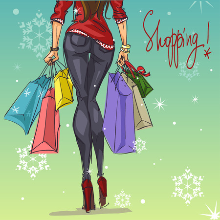 Pretty fashionable woman with shopping bags Illustration