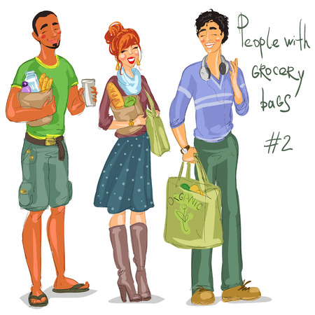 green coupon: Young people with grocery bags