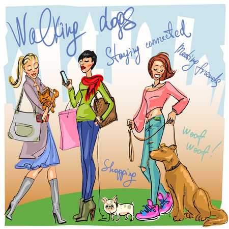 girls night out: Pretty fashionable women with dogs Illustration