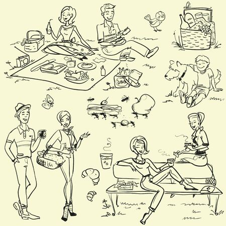 fiesta familiar: Picknic - vector dibujado a mano Vectores